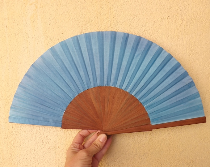 MTO Std Blue Pear Wood Wooden Hand Fan
