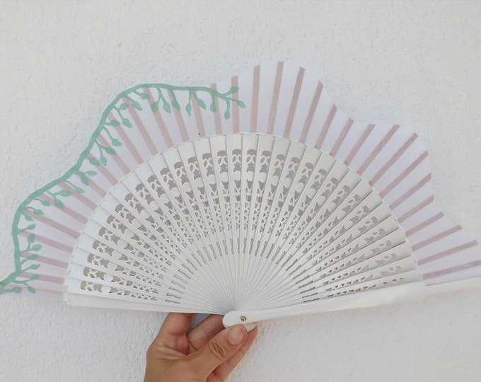 MTO Std White and Mint Vine Leaves Wood Hand Fan