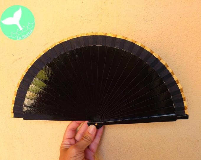 MTO Small Black and Gold Wooden Hand Fan