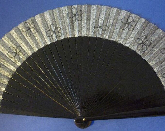 MTO Std Black and Silver Floral Hand Fan