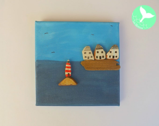 Harbor Lighthouse Pebble Art Picture