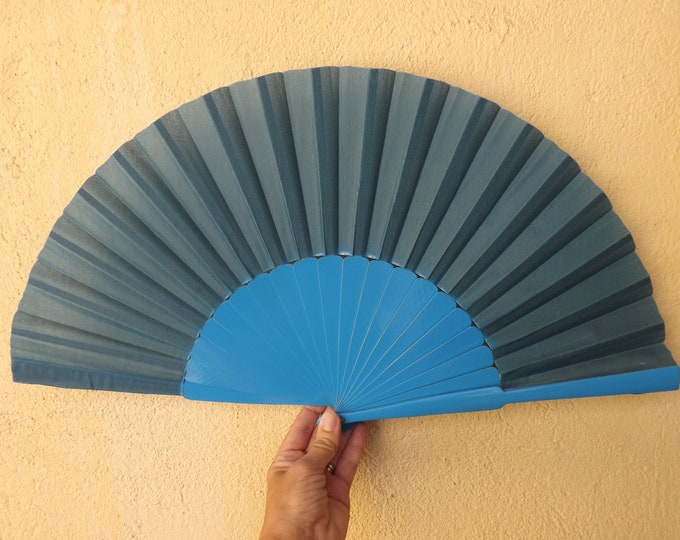XL Supersize Teal and Blue Wooden Hand Fan