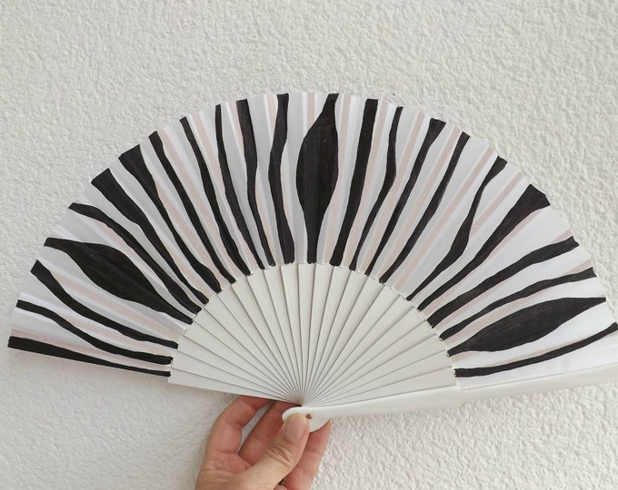 MTO Std Animal Print Zebra Wood Hand Fan
