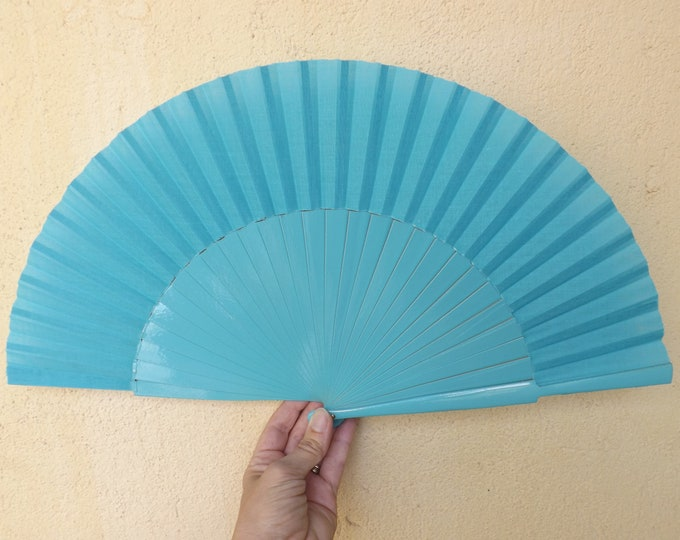 MTO L Large Aqua Wooden Hand Fan