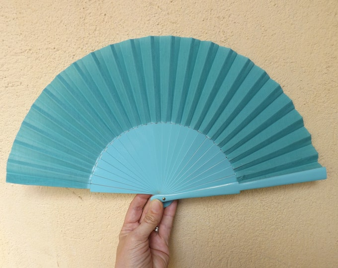 Std Aqua Blue Wooden Hand Fan