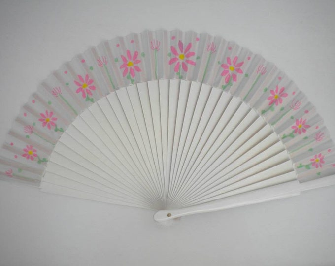 MTO Std White and Pink Floral Hand Fan