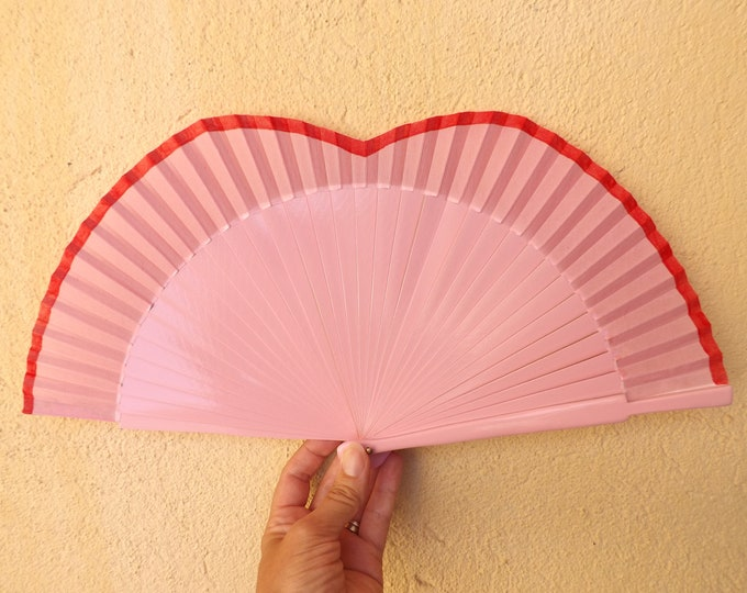 Std Pink and Red Shaped Hand Fan