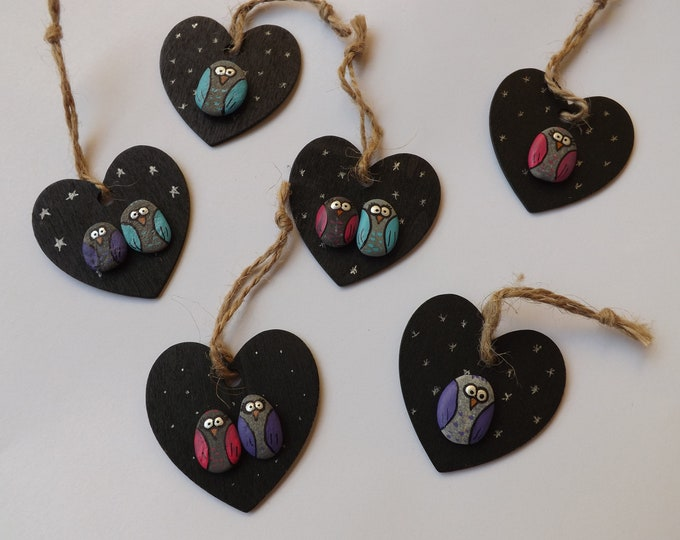 Painted Owl Pebble Gift Heart