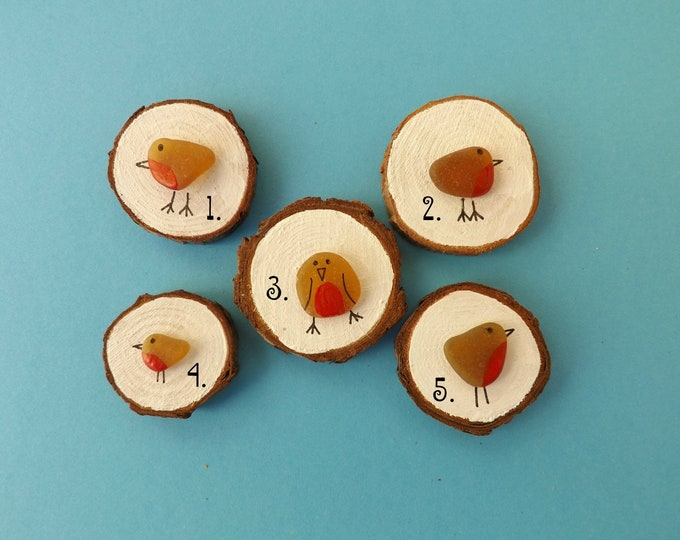 WHOLESALE Miniature Wood Slice Magnet Sea Glass Robins