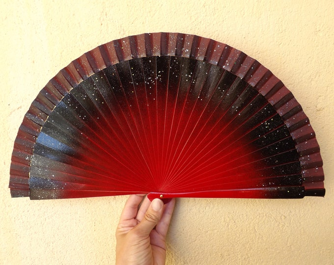 MTO Std Red and Black Wood Hand Fan