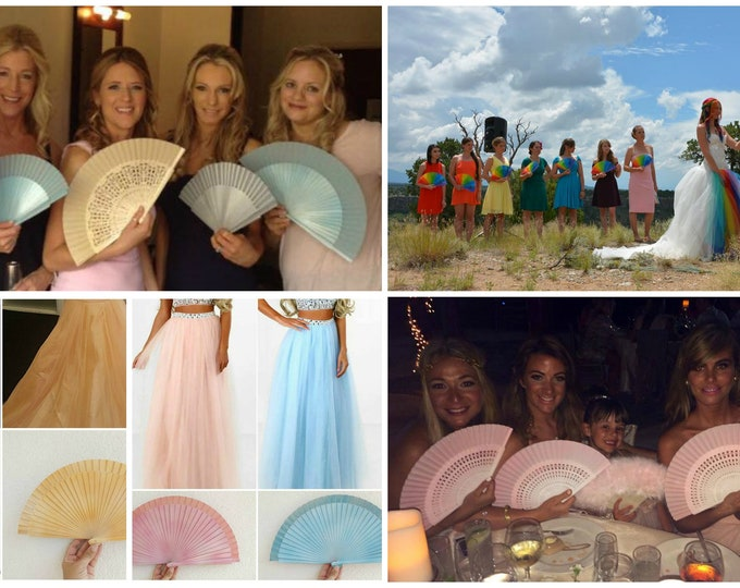 Std Hand Fans For the Bridesmaids ~ Wedding Hand Fan ~ Folding Fan ~ Bridesmaid Gift ~ Bouquet ~ Bridal Fan ~ Made to Order