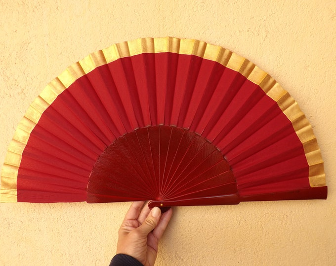 MTO XL Supersize Deep Red Gold Hand Fan