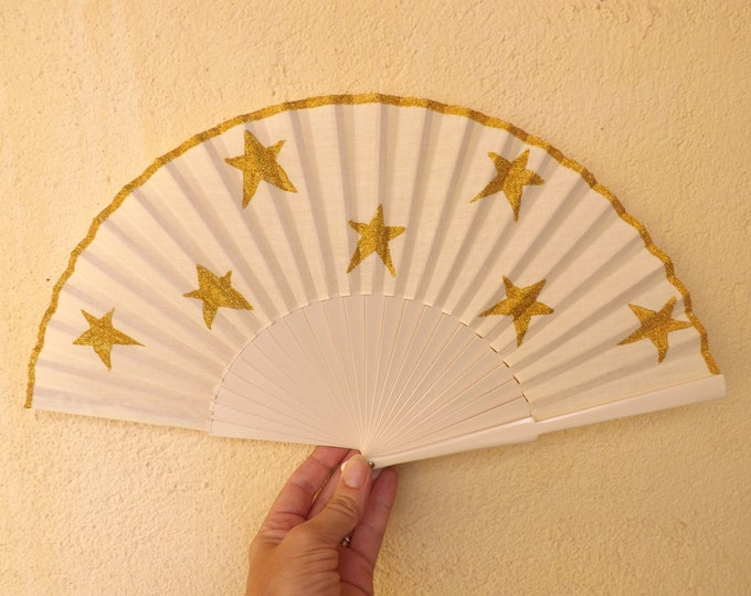 Std Cream Hand Fan with Gold Glitter Stars