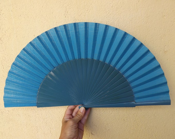 MTO L Large Blue Wooden Hand Fan