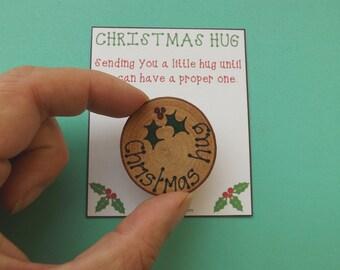 Handmade Christmas Card with Pocket Hug Christmas Card with Tree Decoration Christmas Wishes Card Good Vibes Card Christmas Pocket Hug