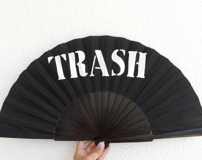 XL Supersize BLACK Any Wording Name Custom Hand Fan