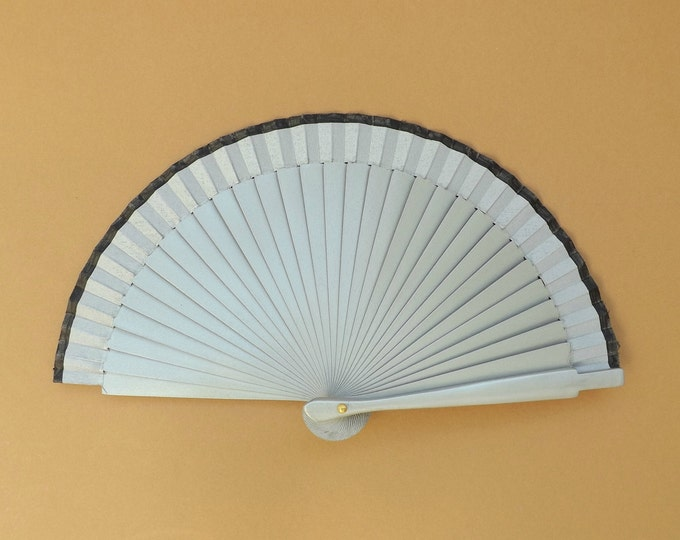 MTO Small Silver and Black Wooden Hand Fan
