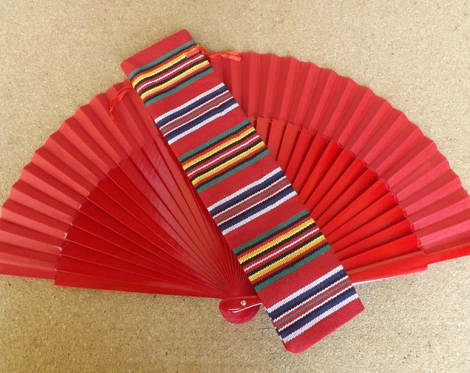 Std Red Wooden Hand Fan with Andalucian Fabric Fan Bag