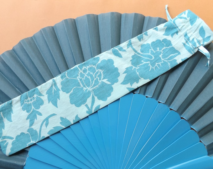Blue Floral Design Fabric Hand Fan Bag WITH or WITHOUT Any Color XL Hand Fan
