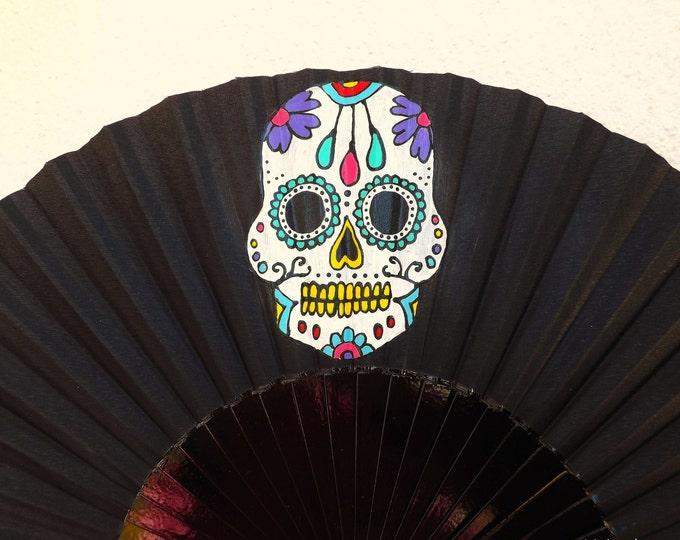 MTO Std Sugar Skull Black Wooden Hand Fan
