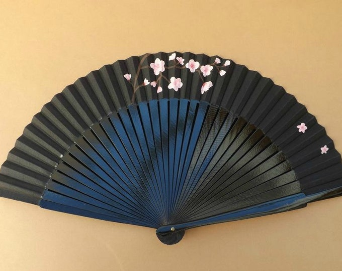 MTO Std Black Hand Fan with Cherry Blossom