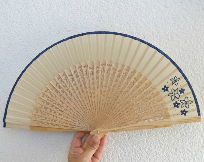 MTO Std Navy Floral on Natural Wooden Hand Fan