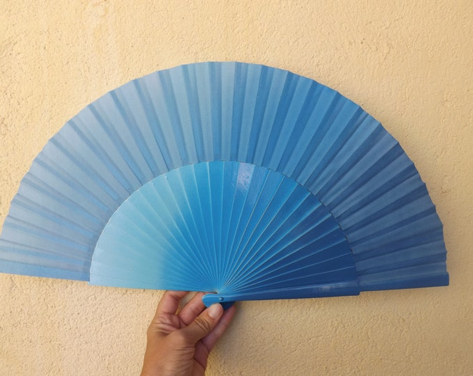 Large Three Tone Blue Hand Fan