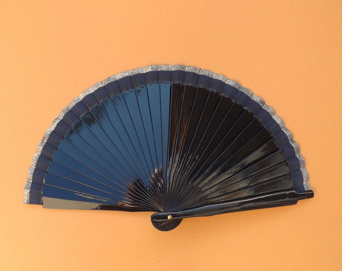 MTO Small Navy and Silver Wooden Hand Fan