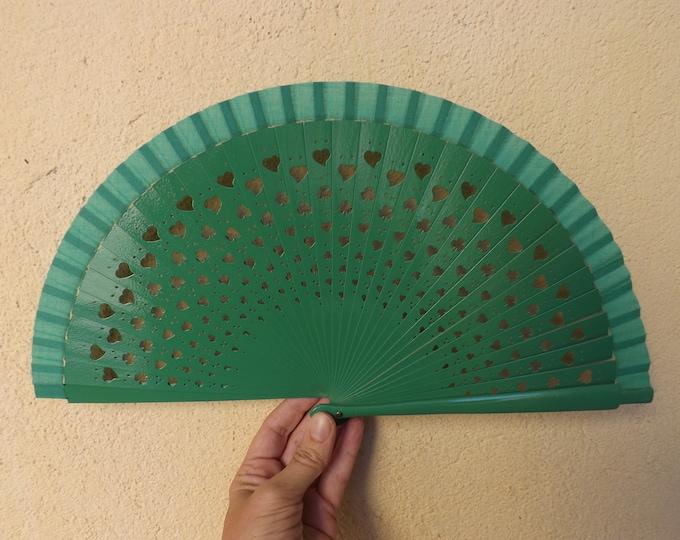 Small Green Shamrock Fret Wood Hand Fan