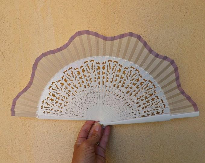 Std Ivory Hand Fan with Fret Wood