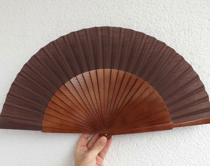 MTO L Large Brown Wooden Hand Fan
