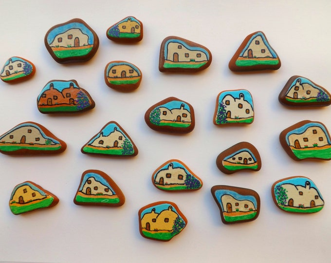 Painted Sea Pottery Magnet ~ Spanish Houses