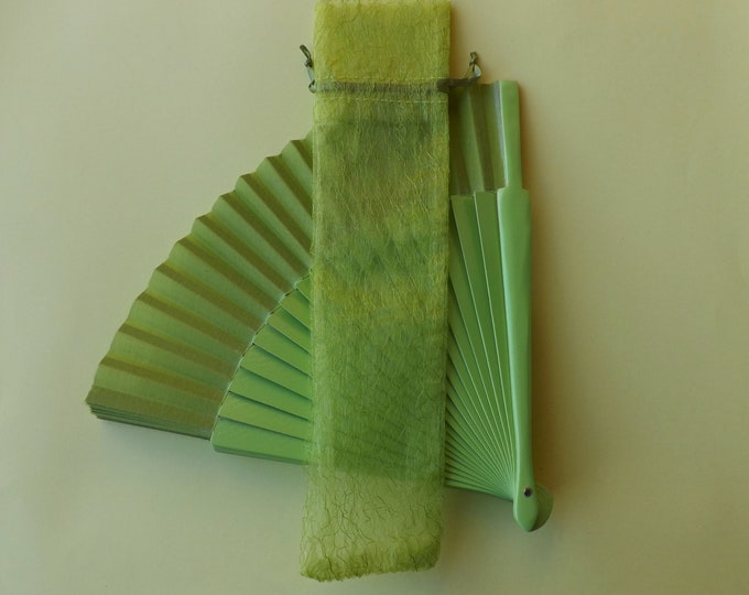 Lime Green Embroidered Organza Hand Fan Cover