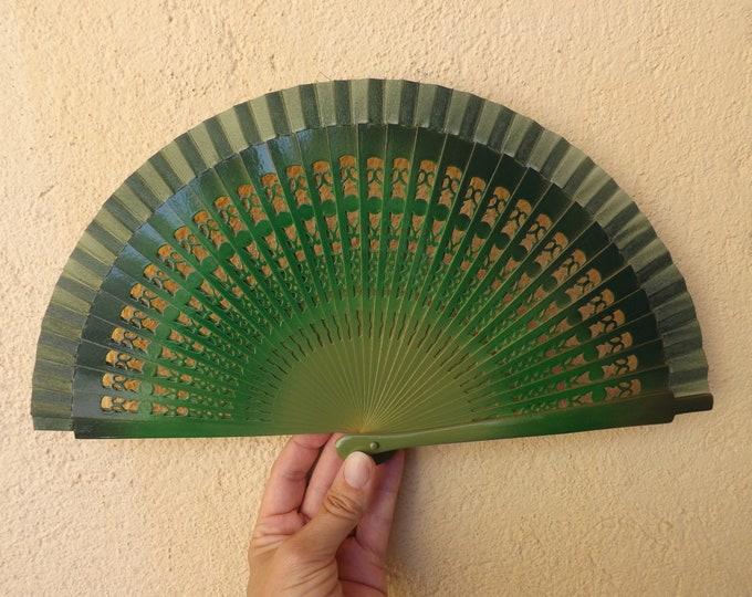 Small Three Shades Green Fret Hand Fan