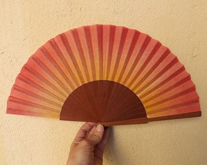 MTO Std Sunrise Sunset Red Yellow Pear Wood Hand Fan
