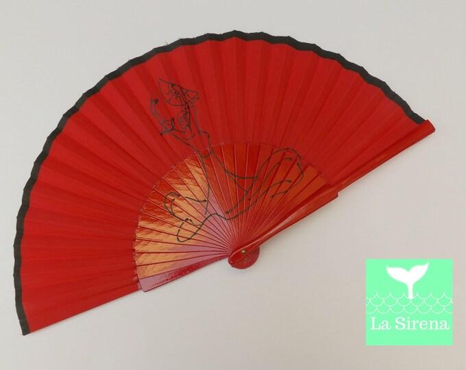 Std Red Flamenco Dancer Hand Fan