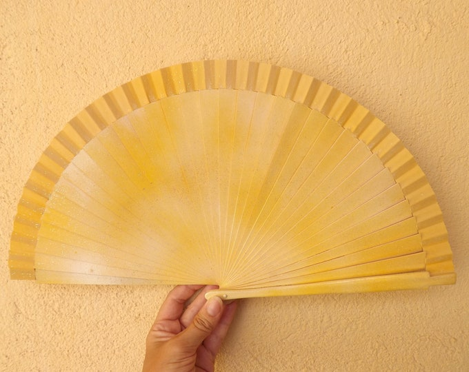 Std Lemon Glitter Hand Fan ~ Wood Handheld Fan - Paint Fan - Wedding Fan -  Spanish Fan - Folding Fan - Wood Fabric ~ Ready to Ship