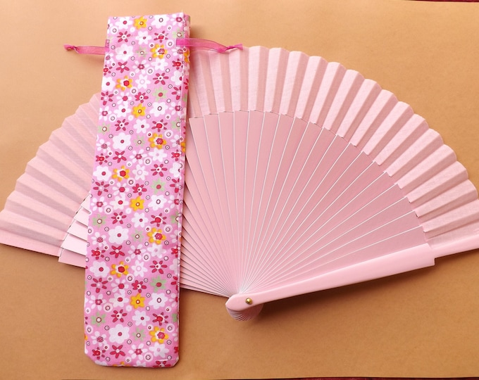 Pink Multi Flowers Hand Fan Cover WITH or WITHOUT Any Color Standard Hand Fan