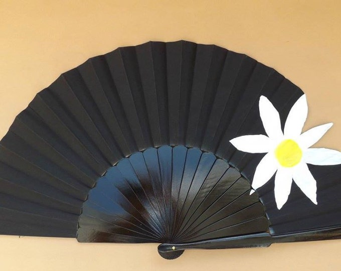 XL Supersize Black With Jumbo Daisy Flower Hand Fan