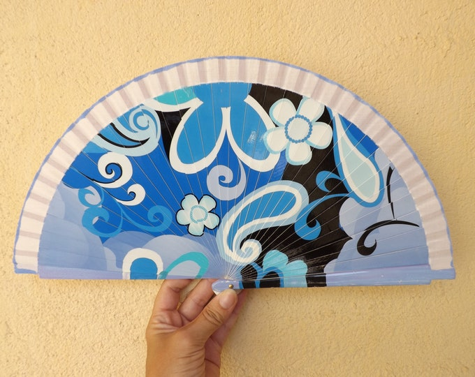 Std Blue Abstract Hand Fan ~ Wood Handheld Fan - Paint Fan - Wedding Fan -  Spanish Fan - Folding Fan - Wood Fabric ~ Ready to Ship