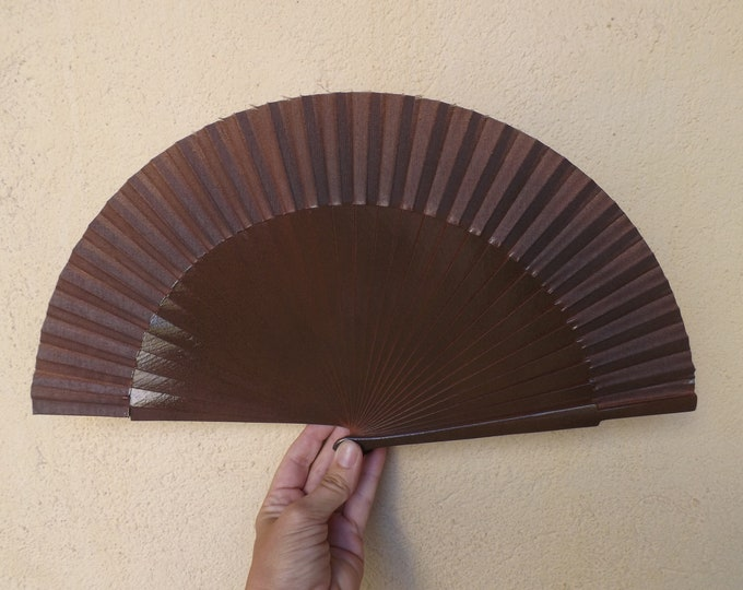 MTO Std Dark Brown Wood Hand Fan