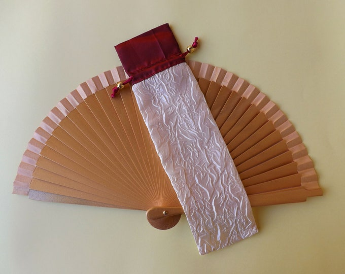 Red and Ivory Satin Hand Fan Cover