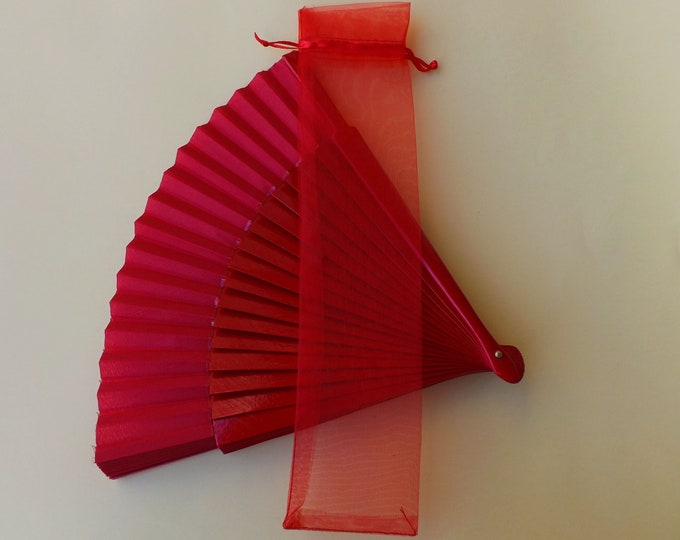 Red Hand Fan Organza Bag(s) CHOOSE QTY