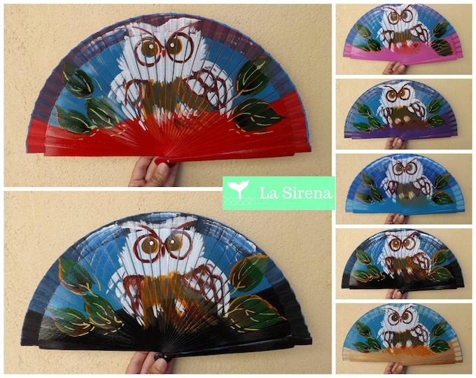 Std Owl Hand Painted Hand Fan ~ Wood Handheld Fan - Paint Fan - Wedding Fan -  Spanish Fan - Folding Fan - Wood Fabric ~ Ready to Ship