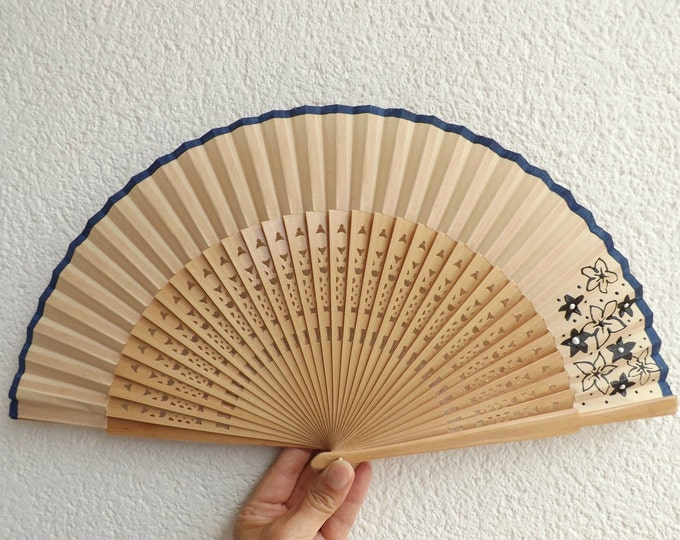 MTO Std Navy Floral on Natural Wooden Hand Fan ~ Traditional Spanish Fan - Folding Fan - Wood Fabric ~ Made to Order