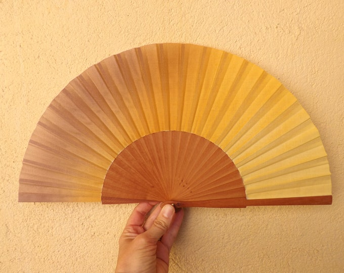 Std Three Tone Bronze Orange Lemon Pear Wood Hand Fan