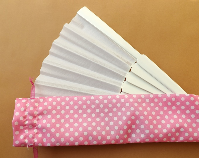 Pink Polka Dot Fabric Hand Fan Bag WITH or WITHOUT Any Color XL Hand Fan