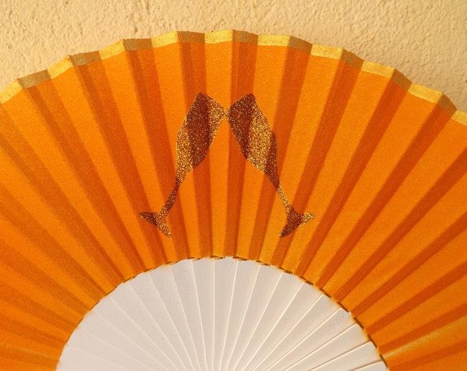 Std Orange Glitter Champagne Hand Fan ~ Wood Handheld Fan - Paint Fan - Wedding Fan -  Spanish Fan - Folding Fan - Wood Fabric