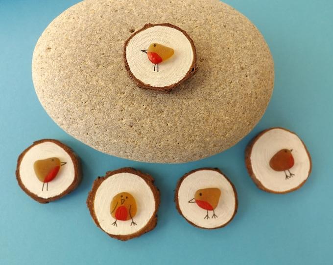 Miniature Wood Slice Magnet Sea Glass Robins