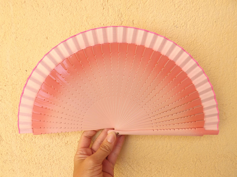 Small Pale Pink Two Tone Hand Fan Wood Handheld Fan Paint Fan